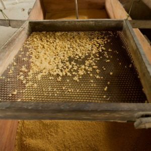 Escolhe-se se a produção será mais grossa ou mais fina a partir da peneiragem. (Foto: Mayra Galha)